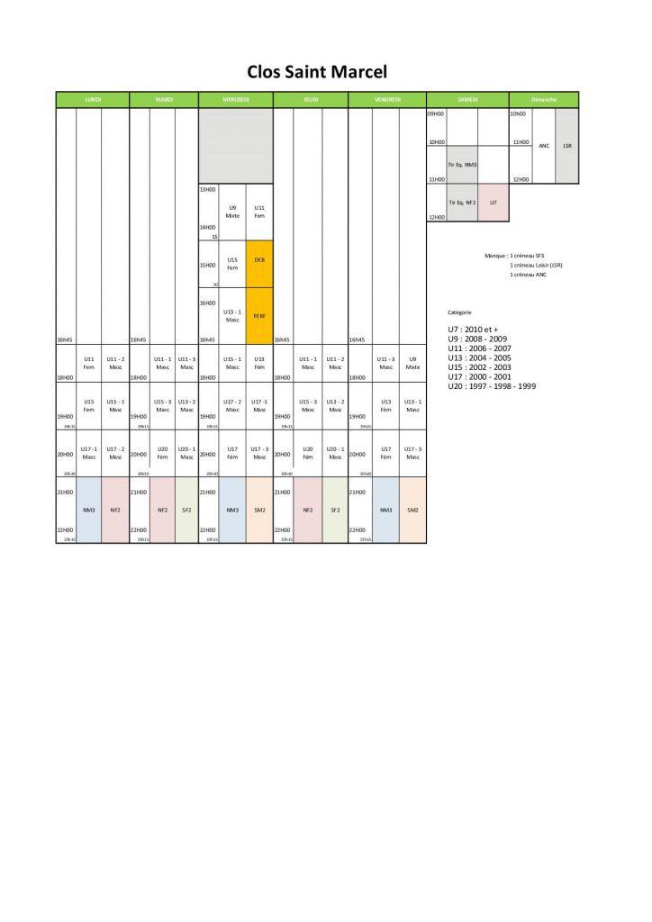Planning de salle Saison 1617